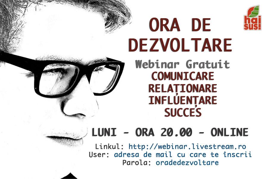 ORA DE DEZVOLTARE - Webinar GRATUIT